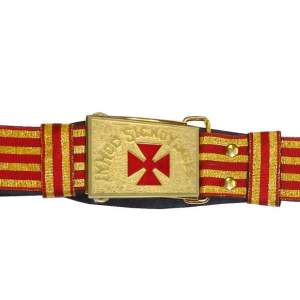 Knight Templar Past Commander Sword Belt Red and Gold