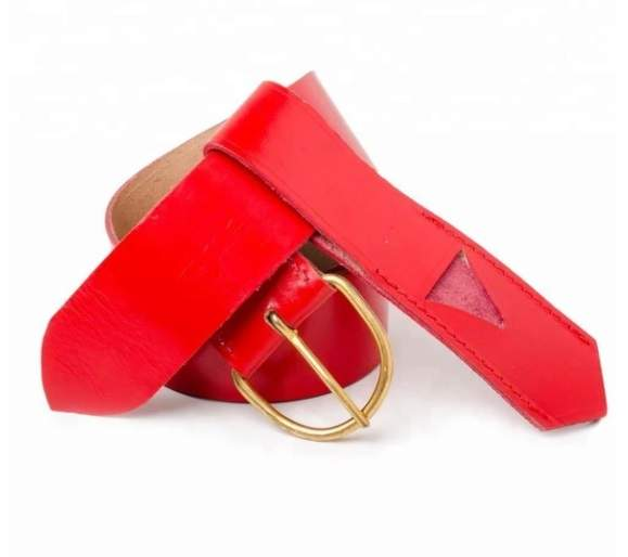 Knights Templar Belt and Frog Red with brass fittings
