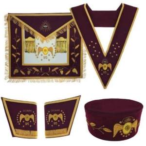 Masonic Scottish Rite 95th Degree Hand embroidered Set Apron Collar Cap Gauntlets
