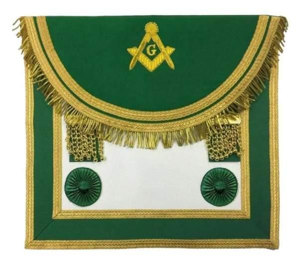 Scottish Rite Master Mason Handmade Embroidery Apron - Green
