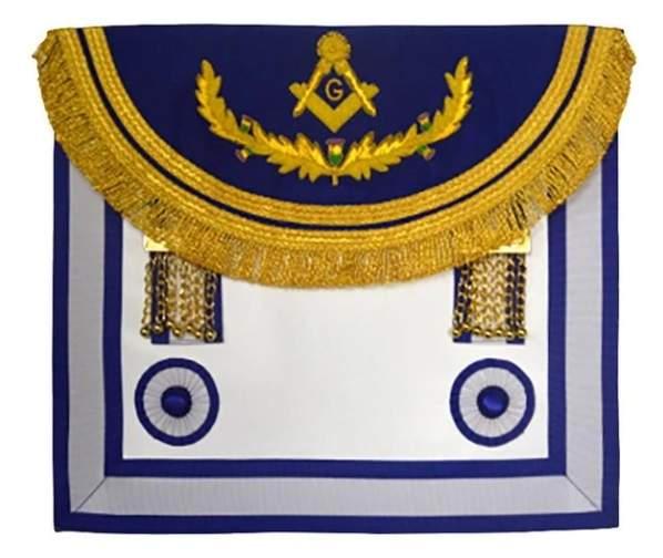 Scottish Rite Master Mason Handmade Embroidery Apron - Light Blue with Vine work