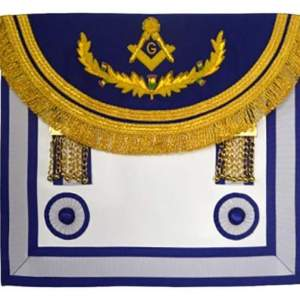 Scottish Rite Master Mason Handmade Embroidery Apron - Light Blue with Vine work