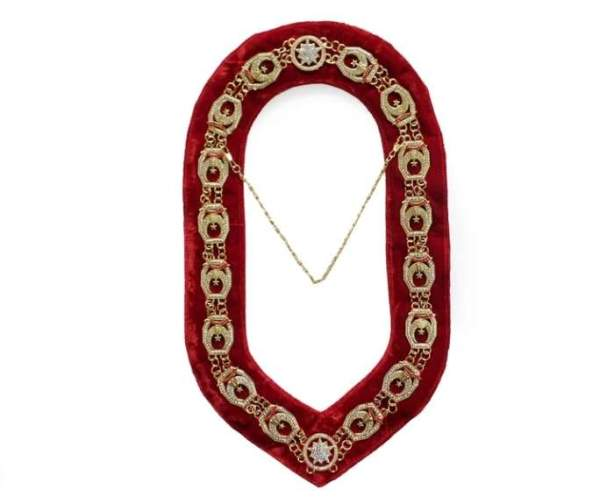 Shriner - Masonic Rhinestone Chain Collar - Gold Silver on Red + Free Case
