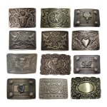 Men's Kilt Belt Buckle Antique Finish - Scottish Highland Celtic Buckles - Claddagh, Stag, Rampant Lion, Serpent, Saltire
