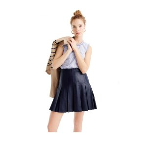 Navy Blue Mini Leather Kilt
