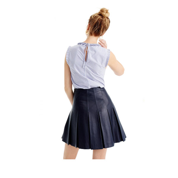Navy Blue Mini Leather Kilt