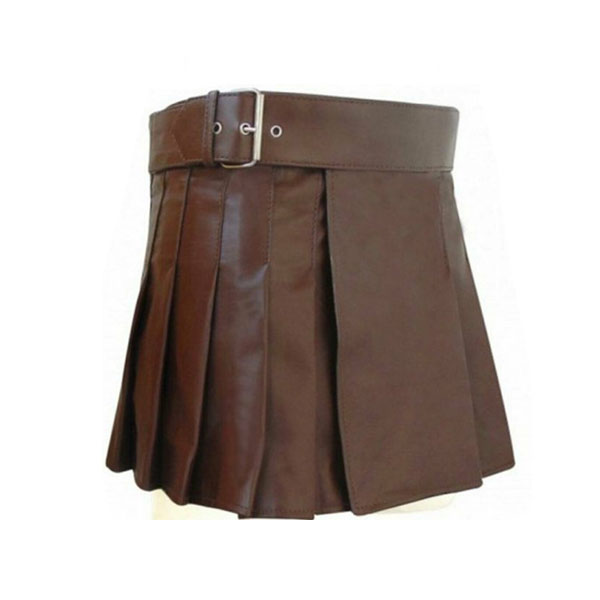 Brown Mini Leather Kilt