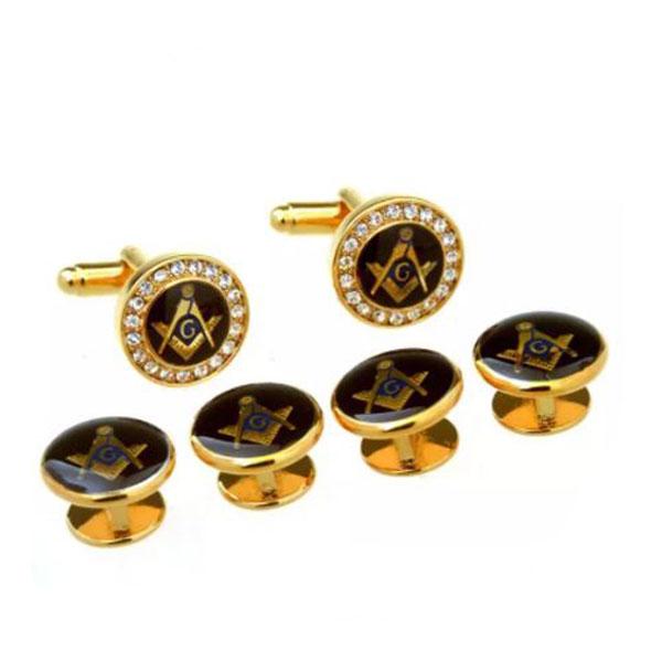 Gold Zirconia Masonic Tuxedo Cufflinks Collar Studs Set 6pcs