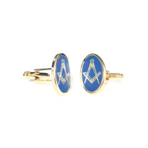 Oval Blue & Gold Masonic Craft Cufflinks