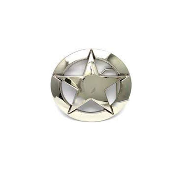 Military White Five-Pointed Star Logo Belt Buckle