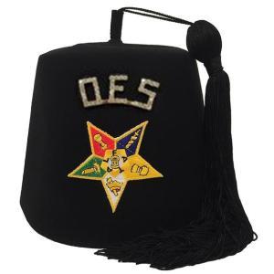 """Order of the Eastern Star OES Rhinestone 1"""" Black Fez"""
