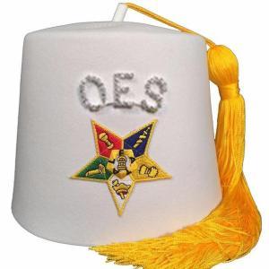 Order of the Eastern Star OES Rhinestone White Fez