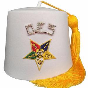 """Order of the Eastern Star OES Rhinestone 1"""" White Fez"""