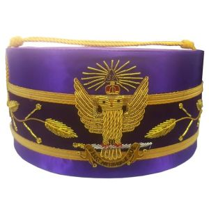 33rd Degree Wings UP Purple Scottish Rite Cap Hand Embroidery