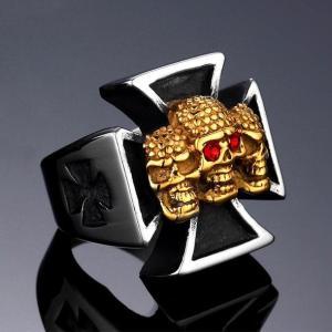 Triple Golden Skulls Knights Templar Ring