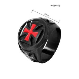 Black Tone Red Cross Knights Templar Ring