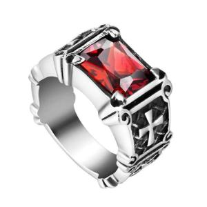 Knights Templar Ring Red and Black Stone