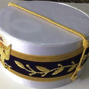33rd Degree Scottish Rite Wings DOWN White Cap Bullion Hand Embroidery