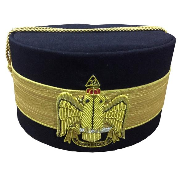 32nd Degree Scottish Rite Wings Down Black Cap Bullion Hand Embroidery