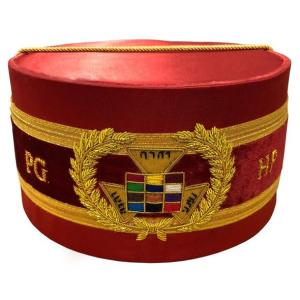 Royal Arch Grand Past High Priest PHP Bullion Hand Embroidered Cap Red