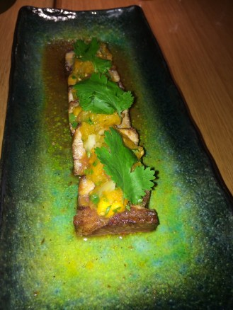 Pork belly, nashi pear, yellow tomato salsa