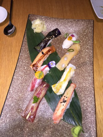 Nikkei Sushi - Tuna, sea bass, salmon, yellowtail, snow crab, scallop, turbot, aubergine miso
