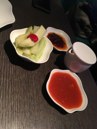 Chilli sauce a vegetarian and non vegetarian (has fish sauce), with cucumber