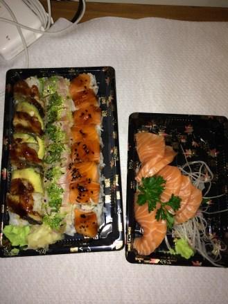 Amen's Regular Takeaway Order - Dragon Eye Roll; Crunchy Tuna Roll; Jumbo Roll; Salmon Sashimi