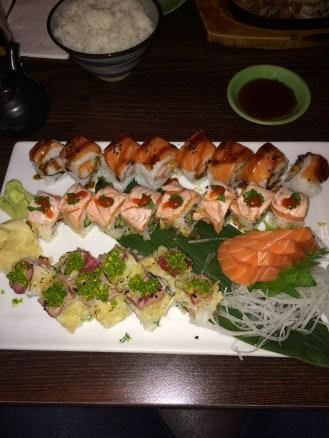From the Top - Jumbo Roll; Rocket Roll; Crunchy Tuna; Salmon Sashimi