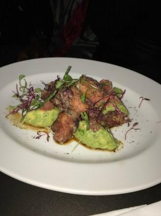 Fried octopus, avocado & coriander