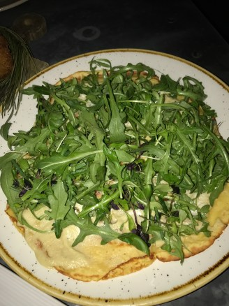 Chickpea 'crepe' topped with fennel puree and herb salad (without anchovies)