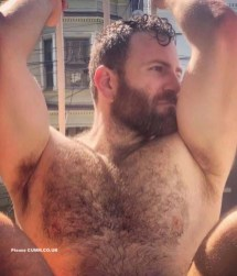 big beefy bloke nude hairy chest
