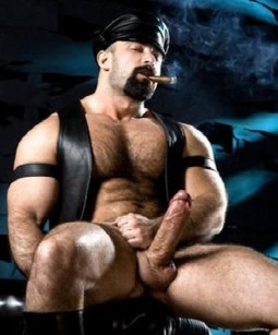 leaather daddy big cock