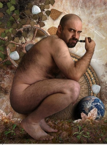 pipe-smoking-man-nude-in-garden