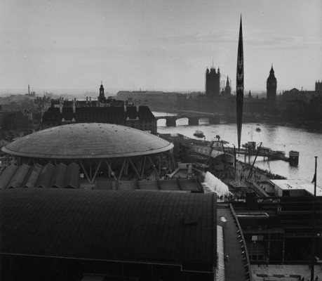 The Royal Festival Hall, South Bank, during the Festival of Britain, 1951.