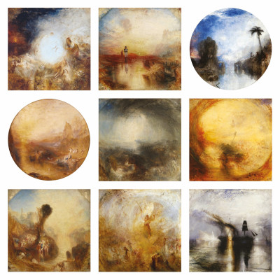 JMW Turner, Rain, 9 finished square canvases  left to right Undine Giving the Ring to Massaniello, Fisherman of Naples exh.1846 (Tate)  War. The Exile and the Rock Limpet exh.1842 (Tate) Dawn of Christianity (Flight into Egypt) exh.1841 (Ulster Museum, Belfast) Glaucus and Scylla – from Ovid's Metamorphoses exh.1841 (Kimbell Art Museum, Fort Worth, USA) Shade and Darkness – The Evening of the Deluge exh.1843 (Tate) Light and Colour (Goethe's Theory) – The Morning after the Deluge – Moses Writing the Book of Genesis exh.1843 (Tate) Bacchus and Ariadne exh.1840 (Tate) The Angel Standing in the Sun exh.1846 (Tate) Peace – Burial at Sea exh.1842 (Tate)