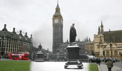 The statue of Lord Beaconsfield stands in a dusting of snow in front of the Houses of Parliament and Big Ben on December 24th 1938