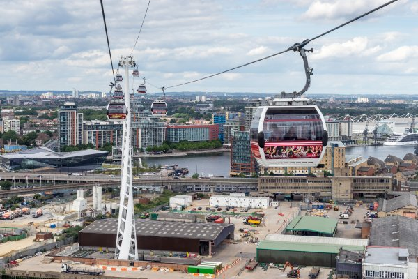 View of the London cable car over the River Thames