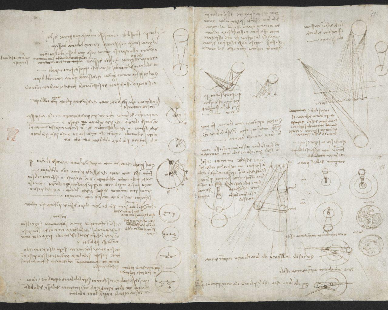 Astronomical notes and sketches, Leonardo Da Vinci's notebook (c) British Library Board