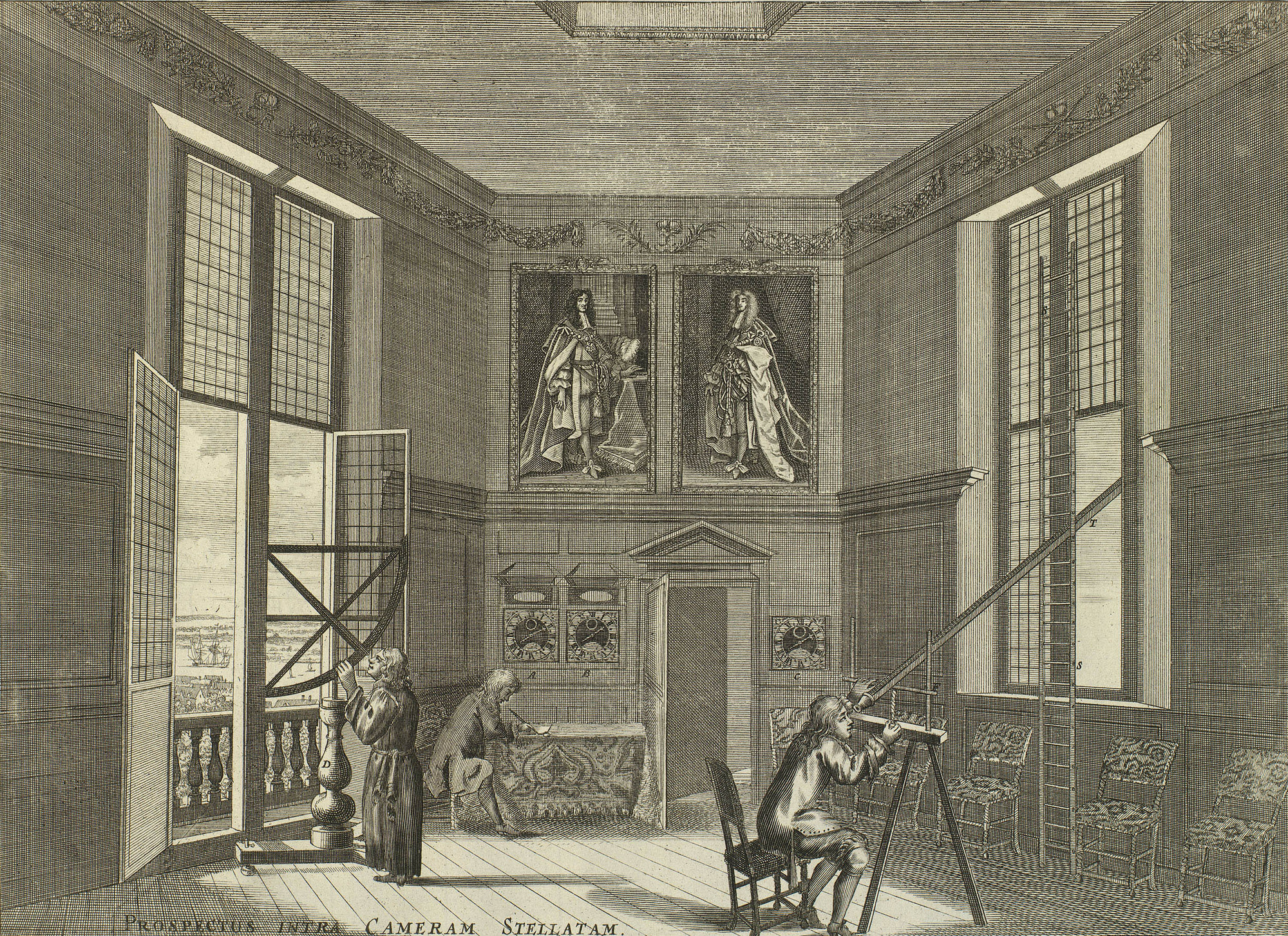 Robert Thacker, Prospectus Intra Cameram Stellatam, 1676, showing astronomers at work in the Royal Observatory