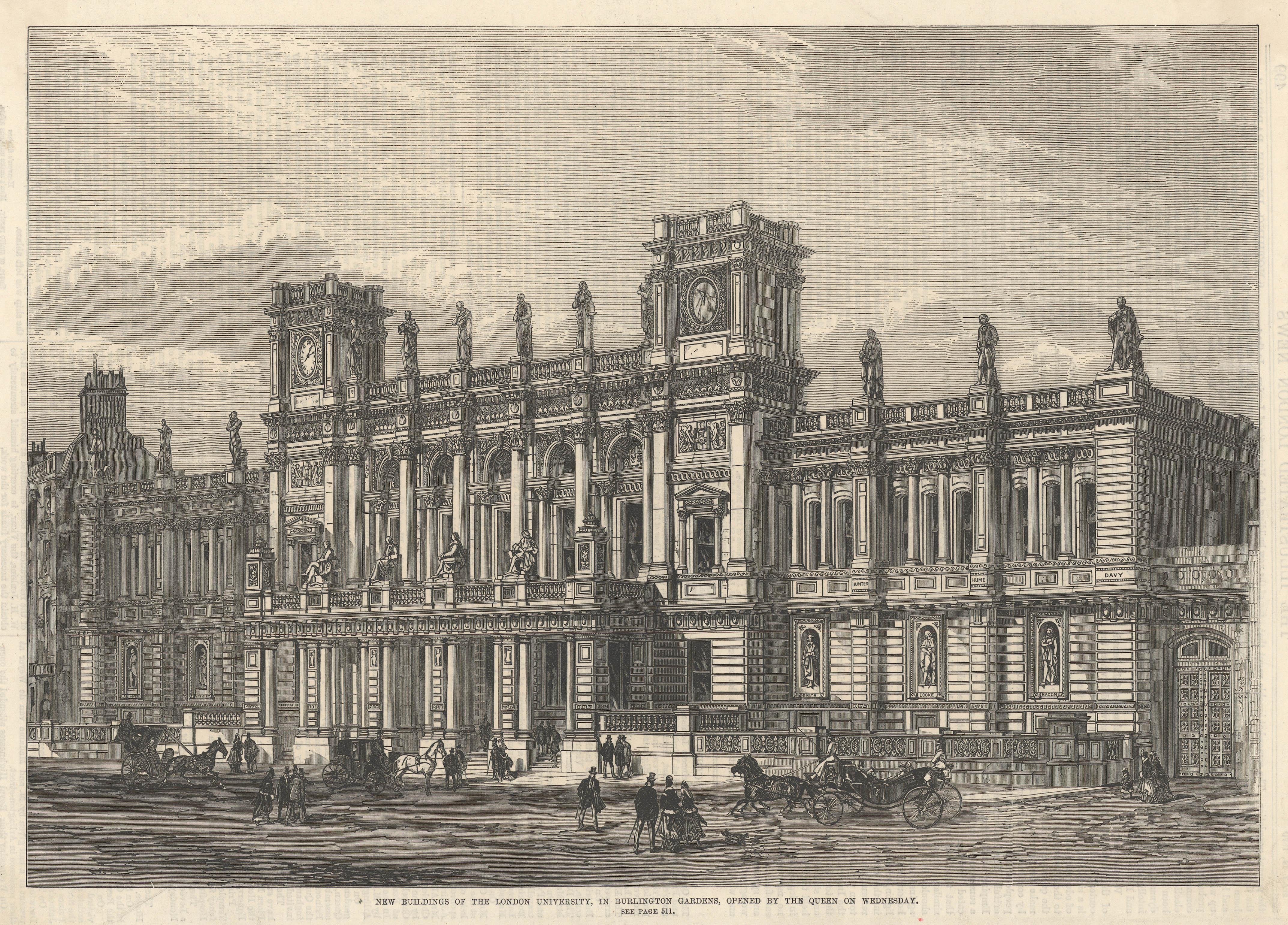 New Buildings of the London University, Burlington Gardens, 1870