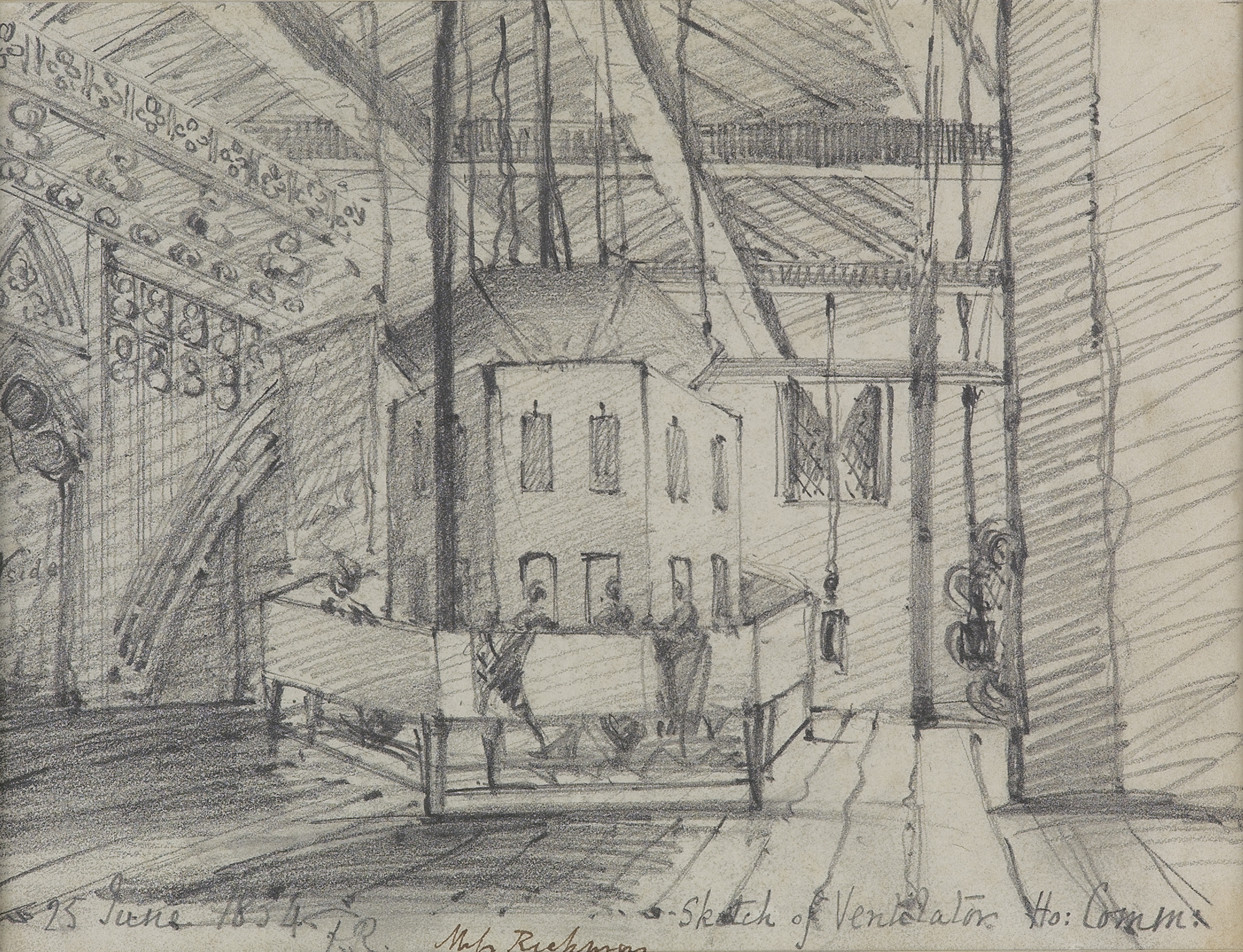 Sketch of Ventilator, House of Commons by Frances Rickman, 1834