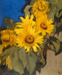 Frank Brangwyn (1867 – 1956) - Sunflowers. Early 20th century. Lent by the Royal Academy of Arts, London © The Estate of Frank Brangwyn / Bridgeman Images