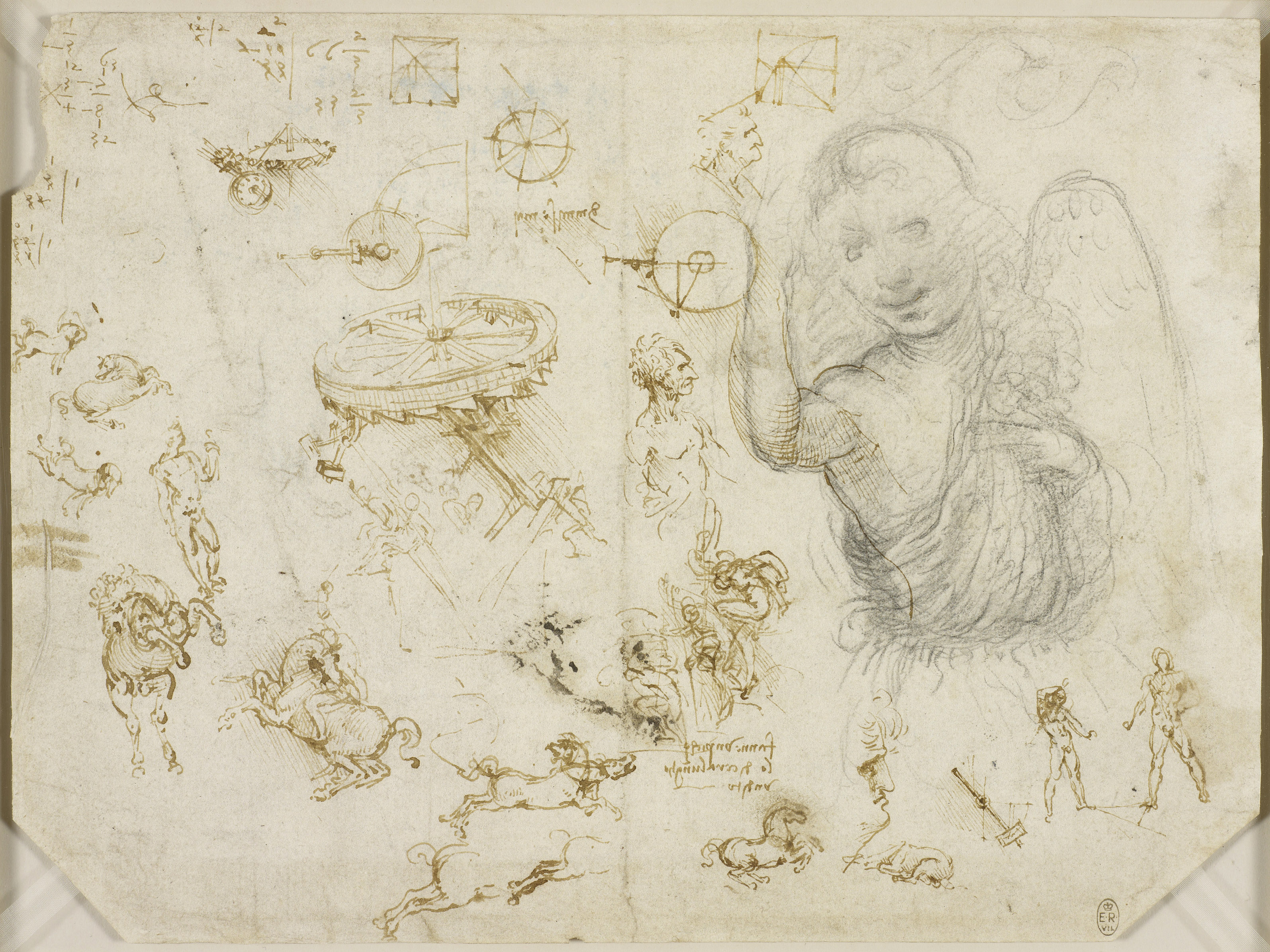 Leonardo da Vinci, Horses and soldiers, mechanics and the Angel of the Annunciation, c.1503-4