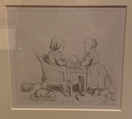 Etching by Prince Albert of their daughter Victoria, Princess Royal, and Albert Edward, Prince of Wales. 1843.