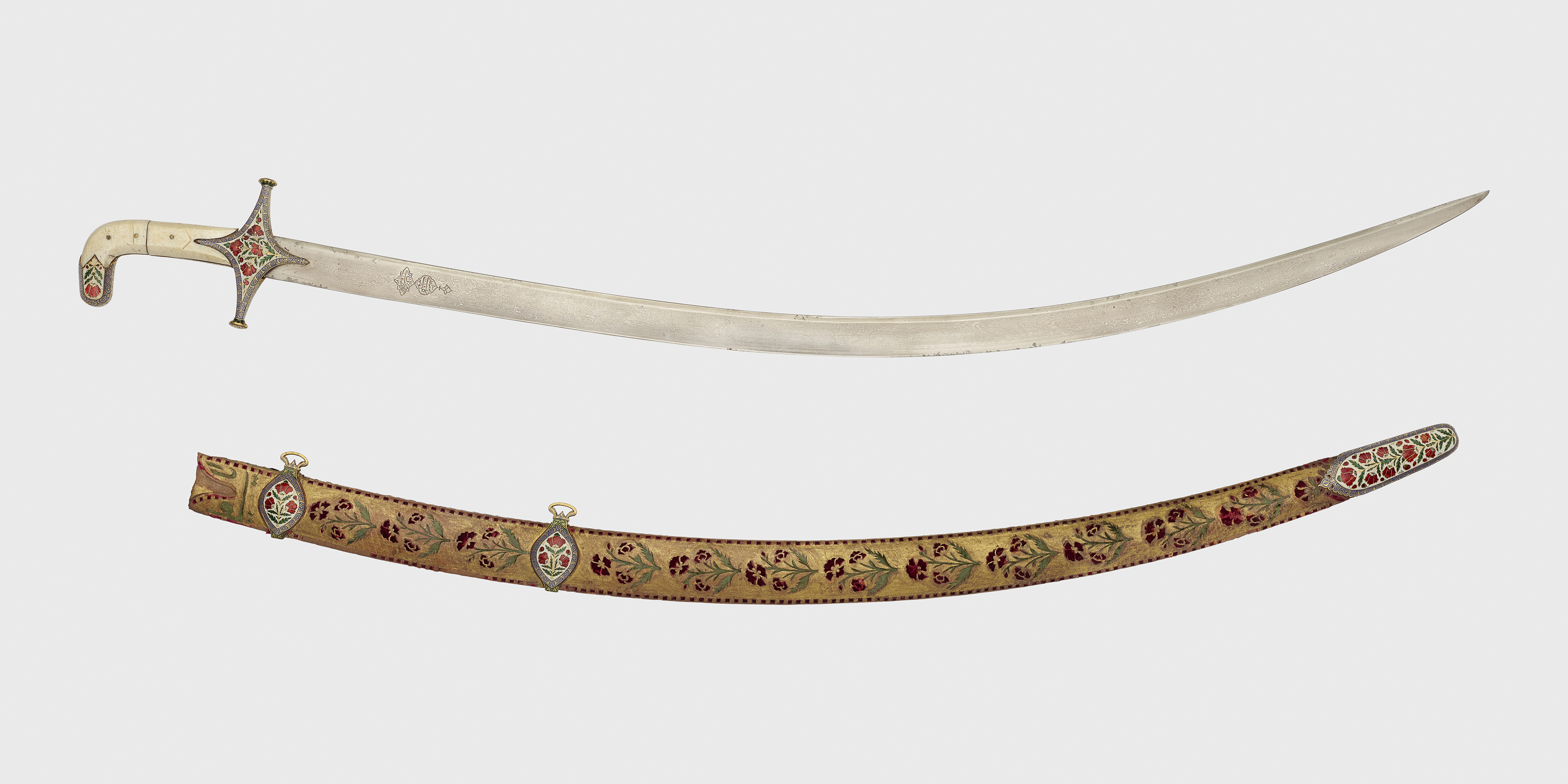Persian sword (shamsir) and scabbard, c.1800