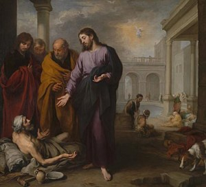 Christ healing a paralysed man at the Pool of Bethesda