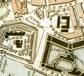Map of 1833, Mint, Tower, and St Katharine Docks
