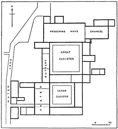 Plan of Blackfriars Monastery before the Dissolution