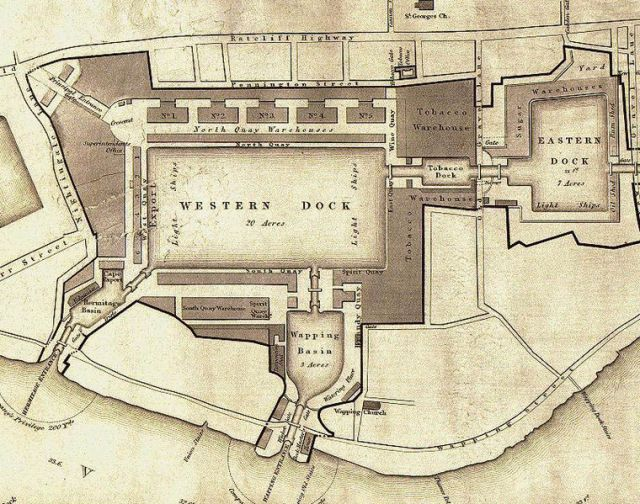 Plan of the London Docks by Henry Palmer in 1831